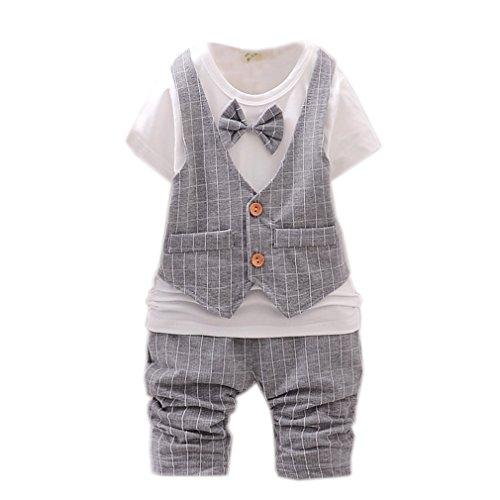Kinder Geschenk Neugeborenes Kurzarm-Sommer Baby Strampler fälschen Gentleman Jacke Shirt Hosen Bekleidung...