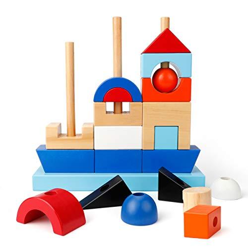 EXTSUD Kinder Holz Piratenschiff Steckspiel Stapelspiel Montessori Spielzeug mit Geschenkbox Holz Boot Farben-...
