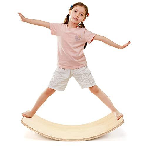 COSTWAY 90 x 30cm Balance Board, Balancierbrett aus Holz, Wackelbrett bis 220kg belastbar, Kurviges Board für...