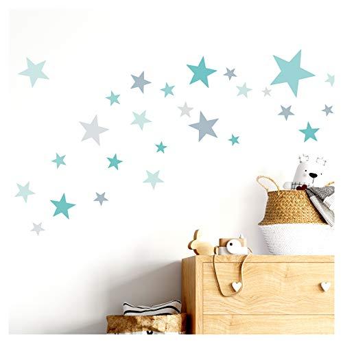 Little Deco Wandtattoo 60 Sterne Kinderzimmer Mädchen Junge Stars I türkis Mint grau I viele Farben...