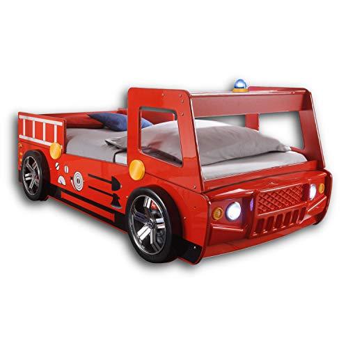 SPARK Feuerwehrbett mit LED-Beleuchtung 90 x 200 cm - Aufregendes Auto Kinderbett für kleine Feuerwehrmänner...