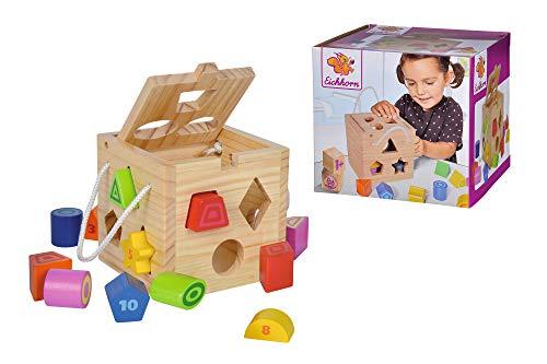 Eichhorn 100002092 Steckwürfel aus Holz, Kiefernholz, Motorikwürfel mit 12 Steckbausteinen, Holzspielzeug...
