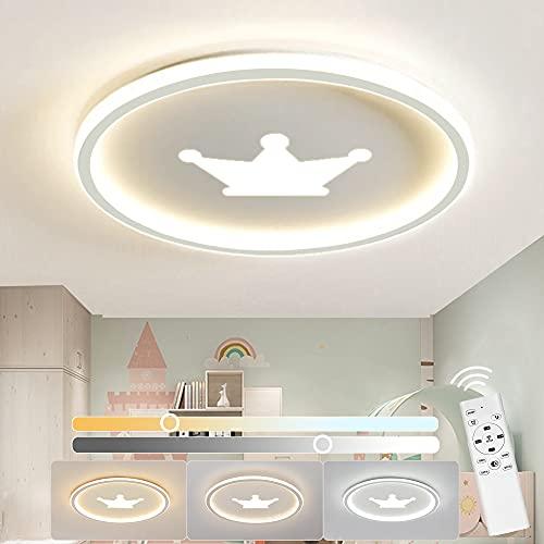 Anten LED Deckenlampe Kinderzimmer KRONE, Deckenleuchte Dimmbar mit Fernbedienung 3200LM 32W 3000-6500K,...