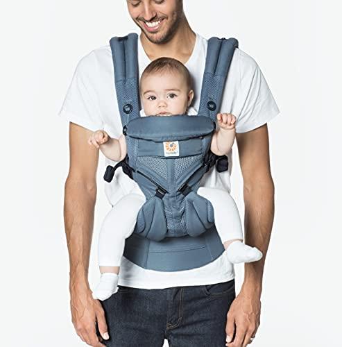 Ergobaby Babytrage für Neugeborene, 4-Positionen Cool Air Mesh Omni 360 Oxford Blau, Baby-Tragetasche...