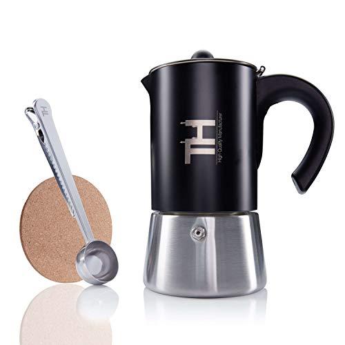 Thiru Espressokocher Induktion| Premium Mokkakanne aus Edelstahl inkl. Toolset (6 Tassen)
