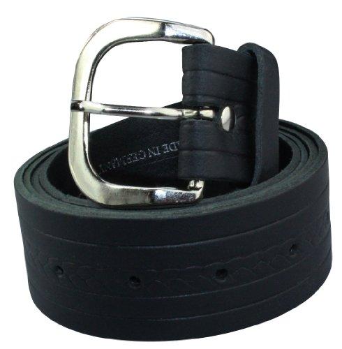 Alex Flittner Designs Echt Ledergürtel Herren in schwarz mit schmalem Zopfmuster 4cm breit | Bundweite 90cm =...