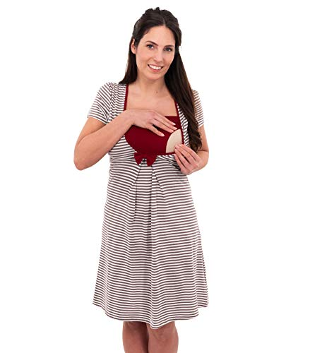 Herzmutter Stillnachthemd-Umstandsnachthemd - Schwangerschafts-Nachthemd mit Stillfunktion - Nachtwäsche für...