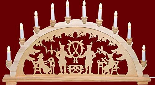 yanka-style XL Schwibbogen Lichterbogen Leuchter Bergleute ca. 72 cm breit traditionelles Motiv 10flammig...