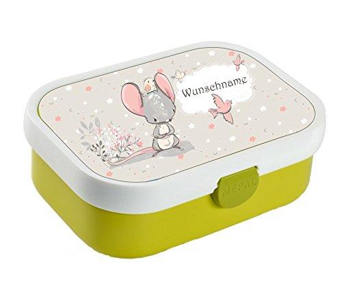 wolga-kreativ Brotdose Lunchbox Bento Box Kinder süßer Maus mit Namen Rosti Mepal Obsteinsatz für Mädchen...