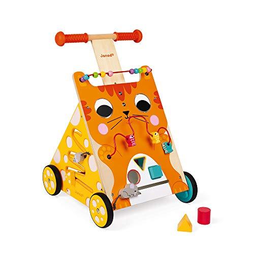 Janod Baby Lauflernhilfe 'Katze' - Holzspielzeug, Laufwagen für Draußen - Baby Walker mit Bremse und...