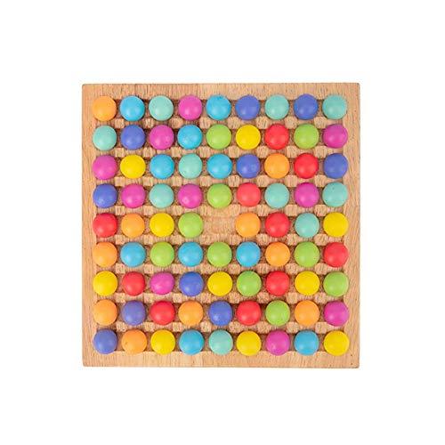 thorityau 72 Stück Holzperle Puzzle Spielzeug Puzzle Magisches Schachspiel Kinder Gehirn Training Brettspiel...