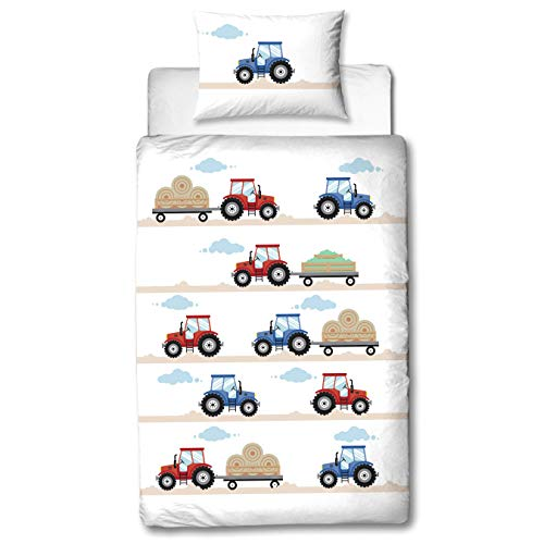 MTOnlinehandel TRAUMHELDEN Traktor Babybettwäsche 135x100 Flanell/Biber ☆ 1 Kissenbezug 40x60 + 1 Bettbezug...