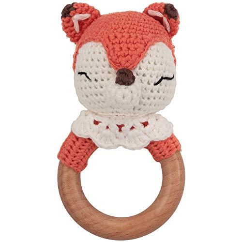 Beißring gehäkelt süßer Fuchs mit integrierter Babyrassel, Greifling Spielzeug Holz und Baumwolle |...