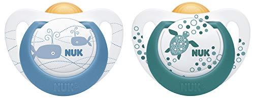 NUK Genius Color Latex-Schnuller, kiefergerechte Form, 0-6 Monate, 2 Stück, blau & grün