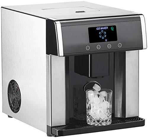 Rosenstein & Söhne Eiswürfelbereiter: Eiswürfelmaschine & Wasserspender V2 mit XL-Display,...