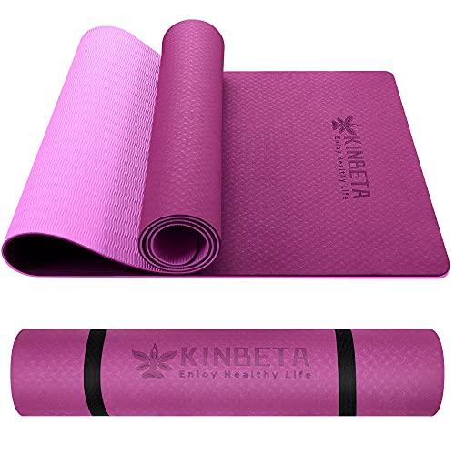 KINBETA Yogamatte Gymnastikmatte rutschfeste aus TPE, Übungsmatten sportmatte mit Tragegurt, Fitnessmatte...