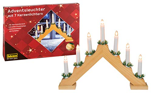 Idena 8582068 - Adventsleuchter aus naturfarbenem Holz mit 7 Kerzenlichtern, inklusive Ersatzlampe,...