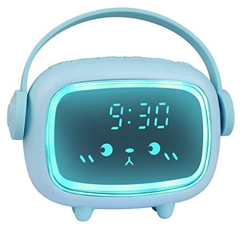 ZKIAH Wecker Kinder Digital Kinderwecker für Mädchen Jungen Digitaluhr Engel Wecker Uhr Wecker (Blau)