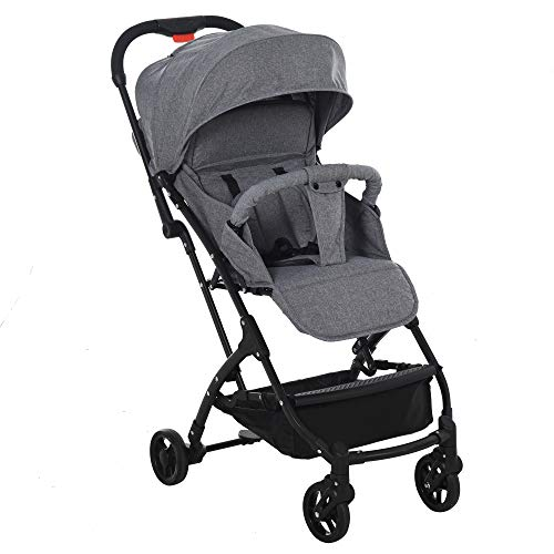 HOMCOM Kinderwagen, Faltbarer Buggy, 0-36 Monate, Sicherheitsfunktion, Aluminiumlegierung+Polyester+EVA, Grau,...