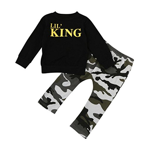 FNKDOR Baby Kleinkind Kinder 1-7 Jahre Jungen Brief Outfits Kleidung Set T-Shirt Tops + Camouflage Hosen(6...
