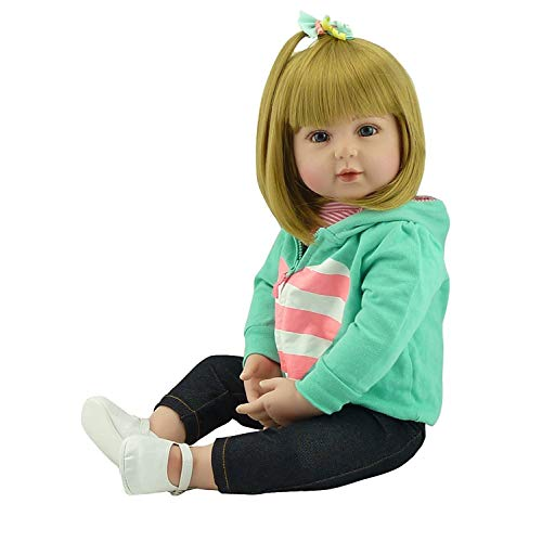 ZIYIUI 20 Zoll 50cm Reborn Baby Mädchen Babypuppen Reborn Toddler Silikon Puppen Baby Lange Haare...