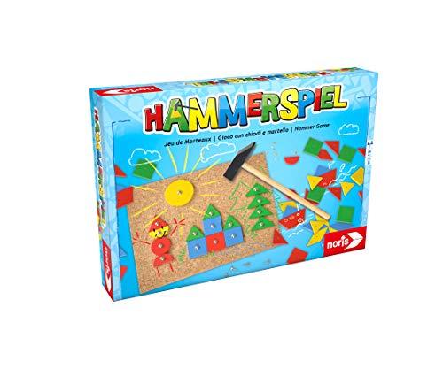 Noris 606049101 Hammerspiel, Lern- und Geschicklichkeitsspiel mit 50 bunten Holzbauteilen in verschiedenen...