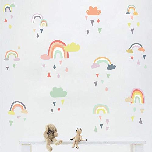 KAIRNE Regenbogen Wandtattoo Kinder, Süß Bunter Wandsticker, Wolken Wandaufkleber, Pastell Farben Baby...