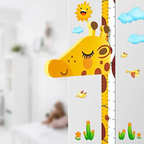 Baby Messlatte Höhe Diagramm für Kinderziemmer Dekoration, 3D beweglicher Giraffenkopf Höhenmesser...