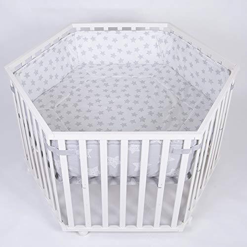 Laufgitter Laufstall 6-eckig, Baby Krabbelgitter inkl. Stoffeinlage 3-fach höhenverstellbar WEISS 52305W-D01