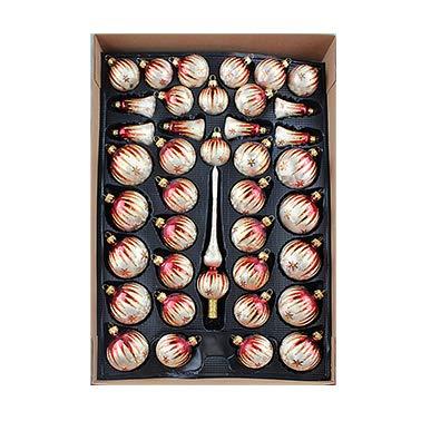 40er Christbaumschmuck, Weihnachtsbaumkugel Set Lauscha ,Eislack Champagner Bordeaux Gold, 38 Kugeln+Spitze,...