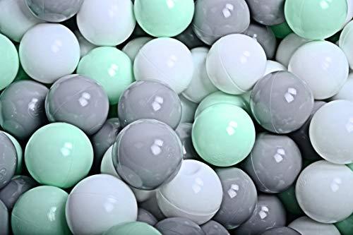 MEOWBABY 200 ∅ 7Cm Kinder Bälle Spielbälle Für Bällebad Baby Plastikbälle Made In EU Mint/Weiß/Grau