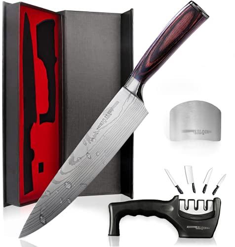 Salqinos Kochmesser Küchenmesser 20cm 7cr17mov Profi Messer aus hochwertigem Carbon Edelstahl mit...