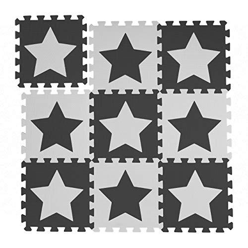 Relaxdays Puzzlematte Sterne, 9er Set, 18 Teile, EVA Schaumstoff, schadstofffrei, Spielunterlage 91 x 91 cm,...