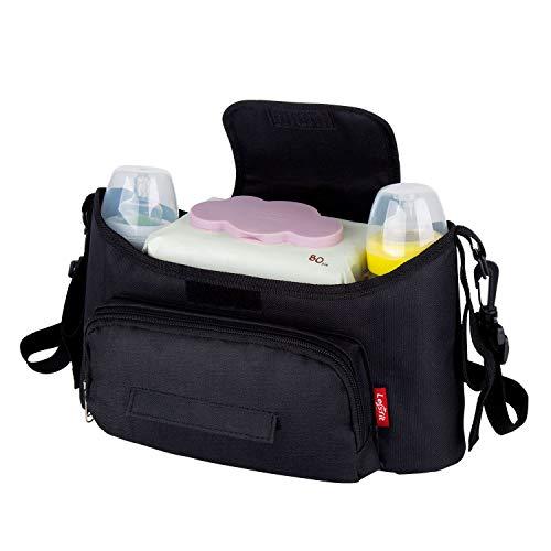 Lesfit Baby Tasche Kinderwagen Organizer, Kinderwagentasche Babytasche Wickeltasche Organizer (Schwarz)