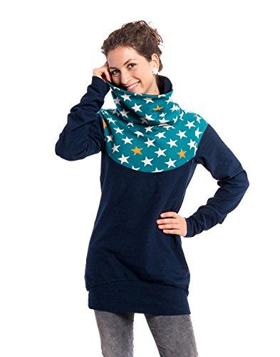 Viva la Mama Schwangerschaft Oberteil Winter warm Sweatshirt Stillen Mutter Sweatpulli - Everest blau Sterne -...