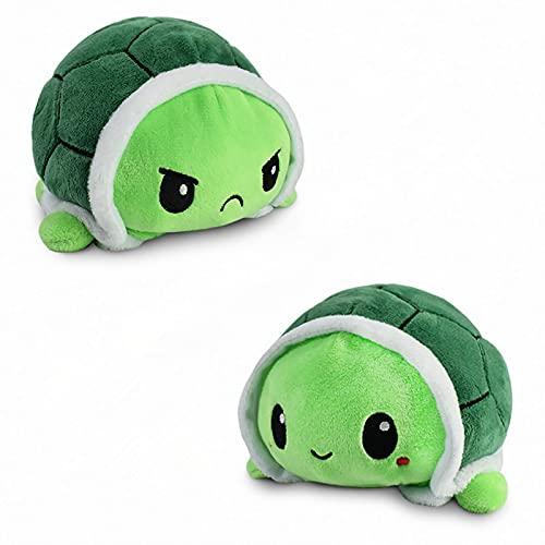 Schildkröte Stimmungs Kuscheltier,Schildkröte Plüschtier, Doppelseitiges Flip-Plüschtier Süße Wendepuppe...