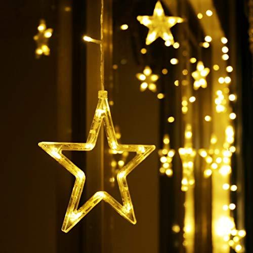 LED Lichterkette 12 Sterne, Lichtervorhang weihnachtslichter Sternenvorhang 138 LEDs 8 Modi Für Innen Außen,...