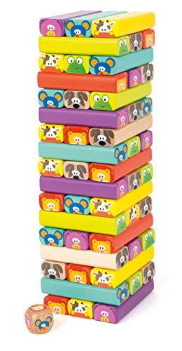 small foot 11973 Wackelturm Tiere aus Holz, 52 Spielsteine mit lustigen Tiergesichtern, für Kinder ab 3...