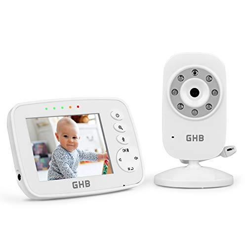 GHB Babyphone 3,2 Zoll Smart Baby Monitor mit ECO Video Gegensprech TFT LCD Bildschirm Nachtsicht Kamera...
