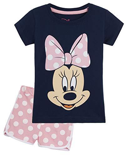 Disney Minnie Mouse Schlafanzug Mädchen, Zweiteiler Baumwolle Pyjama Set für Kinder, Sommer Schlafanzug...