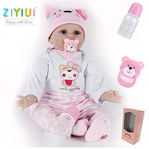 ZIYIUI Reborn Baby-Puppe 22Zoll 55cm Realistisch Baby Puppe lebensecht Weiches Vinylsilikon Reborn Baby...