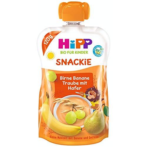 HiPP Sportsfreund Quetschbeutel (Birne-Banane-Traube mit Hafer, 100% Bio-Früchte ohne Zuckerzusatz) 6 x 120 g...