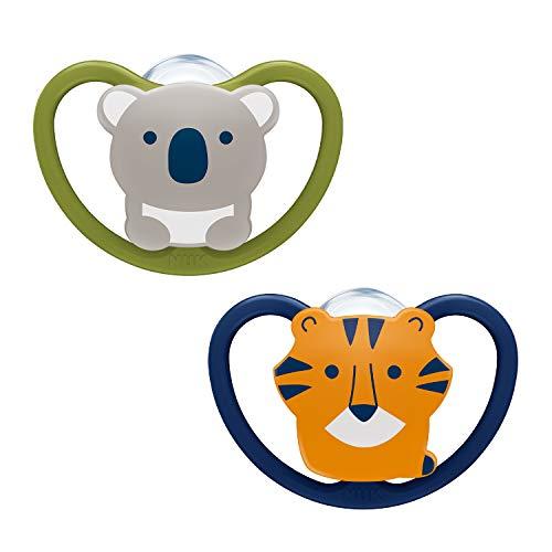 NUK Space Schnuller, kiefergerechte Form, 0-6 Monate, Silikon, Koala & Tiger, , 2 Stück
