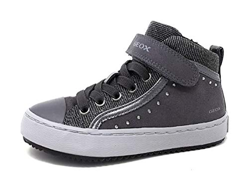 Geox Mädchen J Kalispera Girl I Hohe Sneaker, Grau (Dk Grey), 34 EU