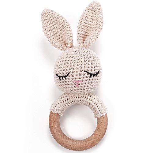 Beißring gehäkelt Bunny mit integrierter Babyrassel, Greifling Spielzeug Holz und Baumwolle | Geschenk zur...