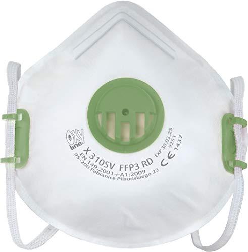 Oxyline X 310 SV FFP3 R D Atemschutzmaske Halbmaske Staubmaske Atemmaske infektionssichere Wiederverwendbare...