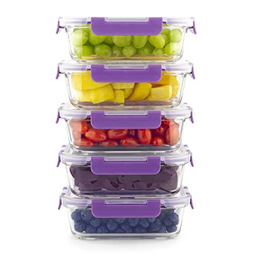Home Planet Meal Prep Boxen Glas   5er Set 860ml   Keine Kunststoffverpackung   Lunchbox Glas   Mealprepdosen...
