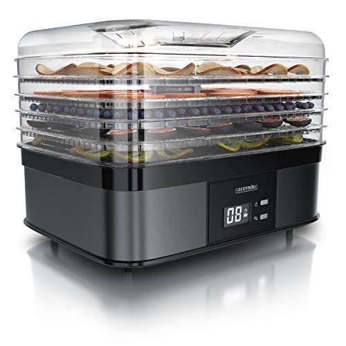 Arendo - Dörrautomat mit Temperaturregler 350 Watt - Edelstahl Dörrgerät für Lebensmittel Fleisch Früchte...