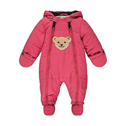 Steiff Baby-Unisex mit süßer Teddybärapplikation Schneeanzug, Carmine, 080