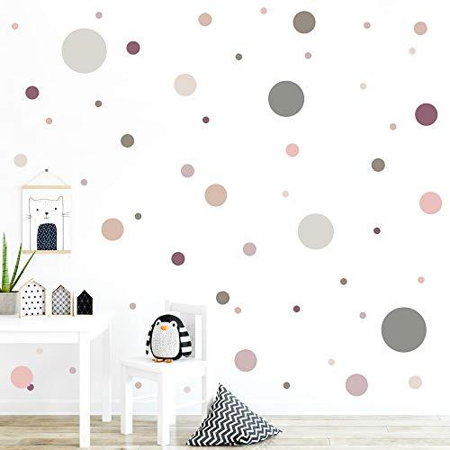malango® 78 Wandsticker in vielen verschiedenen Farbkombinationen Punkte Kinderzimmer Wandtattoo...